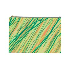 Green and orange pattern Cosmetic Bag (Large)