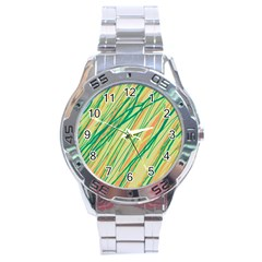 Green and orange pattern Stainless Steel Analogue Watch