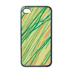Green and orange pattern Apple iPhone 4 Case (Black)