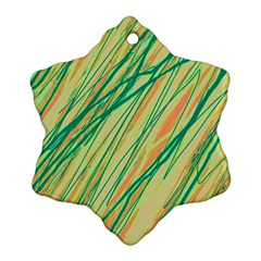 Green and orange pattern Snowflake Ornament (2-Side)