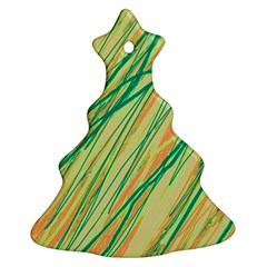 Green and orange pattern Christmas Tree Ornament (2 Sides)