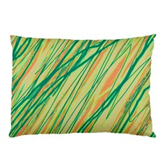 Green and orange pattern Pillow Case (Two Sides)