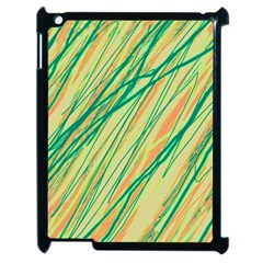 Green and orange pattern Apple iPad 2 Case (Black)