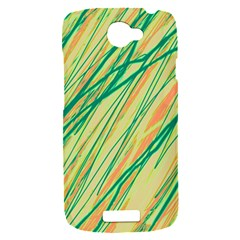 Green and orange pattern HTC One S Hardshell Case