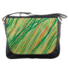 Green and orange pattern Messenger Bags