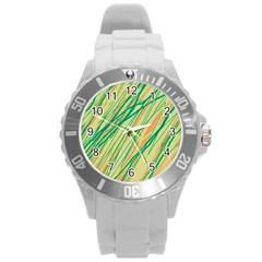 Green and orange pattern Round Plastic Sport Watch (L)