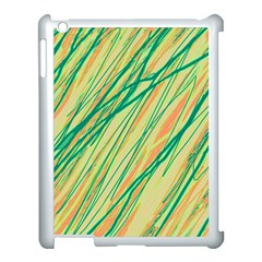 Green and orange pattern Apple iPad 3/4 Case (White)
