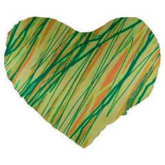 Green and orange pattern Large 19  Premium Heart Shape Cushions