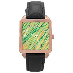Green and orange pattern Rose Gold Leather Watch