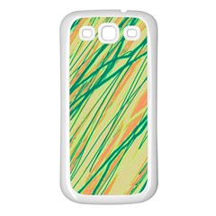 Green and orange pattern Samsung Galaxy S3 Back Case (White)