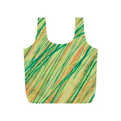 Green and orange pattern Full Print Recycle Bags (S)