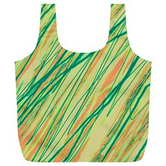 Green and orange pattern Full Print Recycle Bags (L)