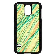 Green and orange pattern Samsung Galaxy S5 Case (Black)