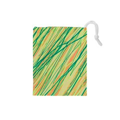 Green and orange pattern Drawstring Pouches (Small)