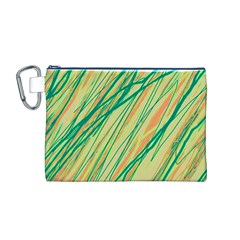 Green and orange pattern Canvas Cosmetic Bag (M)