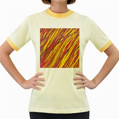 Orange pattern Women s Fitted Ringer T-Shirts