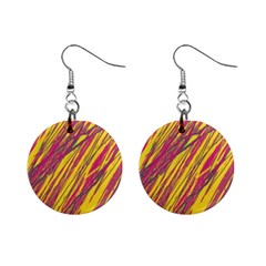 Orange pattern Mini Button Earrings