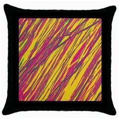 Orange pattern Throw Pillow Case (Black)