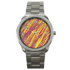 Orange pattern Sport Metal Watch