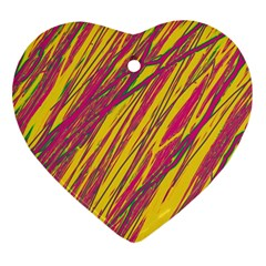 Orange pattern Heart Ornament (2 Sides)