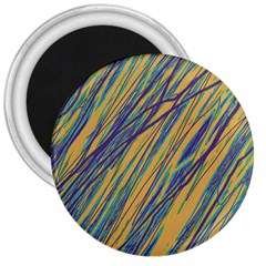 Blue and yellow Van Gogh pattern 3  Magnets