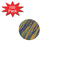 Blue and yellow Van Gogh pattern 1  Mini Buttons (100 pack)