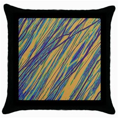 Blue and yellow Van Gogh pattern Throw Pillow Case (Black)