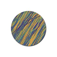 Blue and yellow Van Gogh pattern Rubber Round Coaster (4 pack)