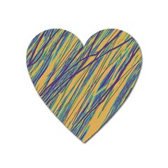 Blue and yellow Van Gogh pattern Heart Magnet