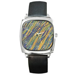 Blue and yellow Van Gogh pattern Square Metal Watch