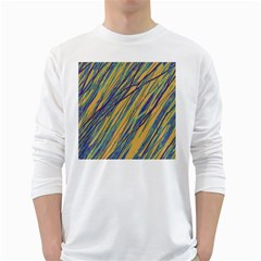 Blue and yellow Van Gogh pattern White Long Sleeve T-Shirts
