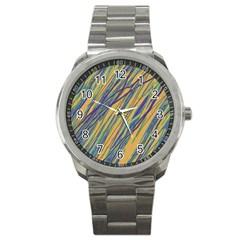 Blue and yellow Van Gogh pattern Sport Metal Watch