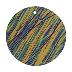 Blue and yellow Van Gogh pattern Round Ornament (Two Sides)