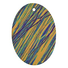 Blue and yellow Van Gogh pattern Oval Ornament (Two Sides)