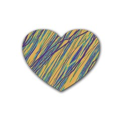 Blue and yellow Van Gogh pattern Rubber Coaster (Heart)