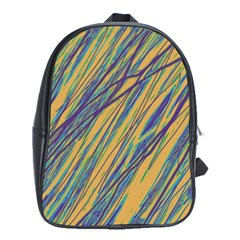 Blue and yellow Van Gogh pattern School Bags(Large)