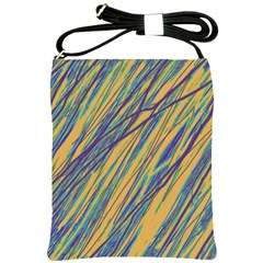 Blue and yellow Van Gogh pattern Shoulder Sling Bags