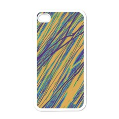 Blue and yellow Van Gogh pattern Apple iPhone 4 Case (White)