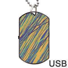 Blue and yellow Van Gogh pattern Dog Tag USB Flash (Two Sides)