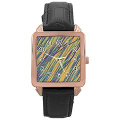 Blue and yellow Van Gogh pattern Rose Gold Leather Watch