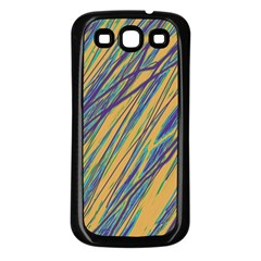 Blue and yellow Van Gogh pattern Samsung Galaxy S3 Back Case (Black)