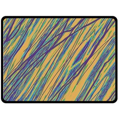 Blue and yellow Van Gogh pattern Double Sided Fleece Blanket (Large)