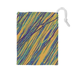 Blue and yellow Van Gogh pattern Drawstring Pouches (Large)
