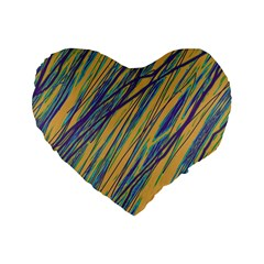 Blue and yellow Van Gogh pattern Standard 16  Premium Flano Heart Shape Cushions