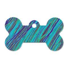 Blue pattern Dog Tag Bone (One Side)