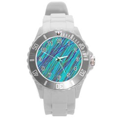 Blue pattern Round Plastic Sport Watch (L)