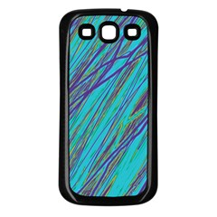 Blue pattern Samsung Galaxy S3 Back Case (Black)