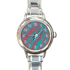Red and blue pattern Round Italian Charm Watch
