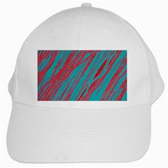 Red and blue pattern White Cap