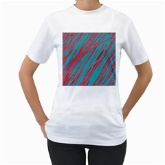 Red and blue pattern Women s T-Shirt (White) (Two Sided)